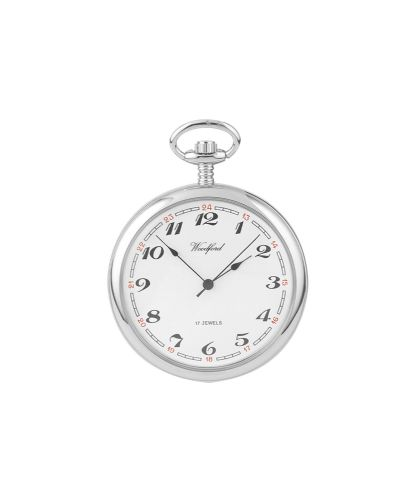 Mechanical Chrome Plated Plain Open Face  Pocket Watch With Chain